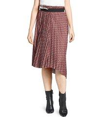 paisley pleated asymmetric skirt