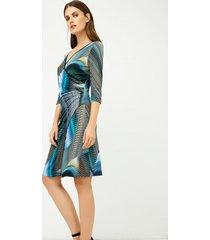 sukienka dżersejowa kolor szaro-turkusowa we wzory