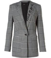 blazer john john chess printed alfaiataria estampado feminino (preto, gg)
