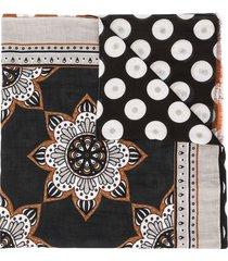 altea mixed-print lightweight scarf - black
