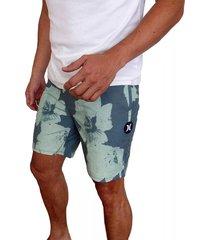 pantaloneta hurley beachside swarm para hombre - gris