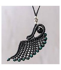 onyx pendant necklace, 'green free wing' (thailand)