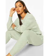 knitted sweater & jogger co-ord, sage