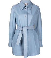 l'autre chose short belted coat - blue