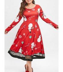 christmas plus size lollipop snowman print dress