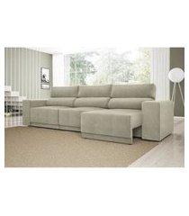 sofá 6 lugares net reale assento retrátil e reclinável suede areia 2,84m (l)