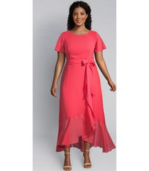 lane bryant women's flounce-sleeve ruffle midi dress 14 coral