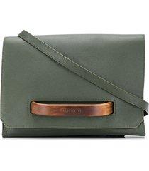 calicanto wooden front-handle clutch bag - green