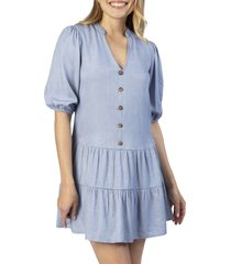speechless tiered ruffle chambray dress, size medium in light denim at nordstrom