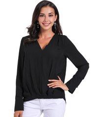 blusa pliegues negro nicopoly