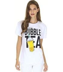 "camiseta manga curta t-shirt ""bubble tea"" branca aha"
