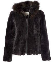 furjacket with hood and raccon dark grey