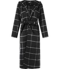 cuadros negros cinturón diseño abrigo de tartán de manga larga