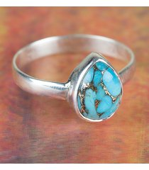 awesome blue copper turquoise gemstone silver handmade ring all size bjr-437-bct