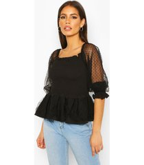 dobby mesh puff sleeve shirred peplum top, black