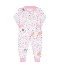 pijama macacáo new soft punho zíper rosa vrasalon 8 rosa