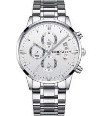 reloj hombre lujo pulso acero nibosi 2309 plateado blanco