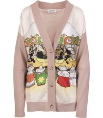 woman pink v-neck cardigan with printed silk panel