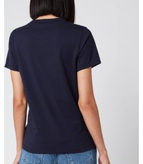 maison kitsuné women's t-shirt tricolor fox patch - navy - l