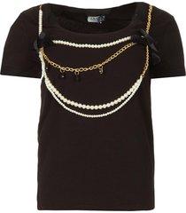 t-shirt met kettingdetail edor  zwart