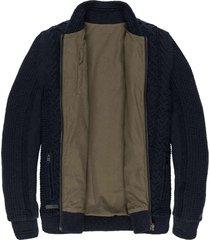 zip jacket slub cable gebreide vesten