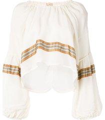 jil sander ribbon-tie striped crop top - white