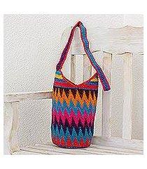 crocheted cotton bucket bag, 'zigzag rainbow' (guatemala)