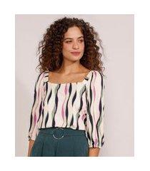 blusa feminina estampada geométrica manga bufante decote reto off white