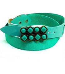 cinto teodora's couro elástico verde couro
