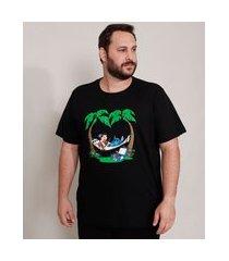 camiseta de algodão plus size lilo e stitch manga curta gola careca preta