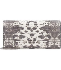 alexander mcqueen printed leather wallet on chain