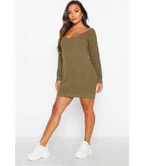 petite v-neck sweater mini dress, olive