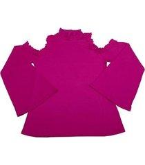 blusa via costeira flare com gola alta e renda feminina