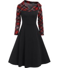 plaid insert empire waist skew neck dress