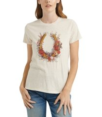 lucky brand floral horseshoe graphic t-shirt