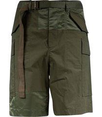 sacai belt detail shorts