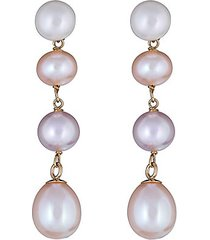 14k yellow gold & 5-7mm multicolor freshwater pearl drop earrings