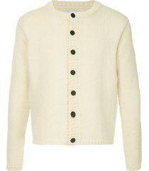 bergfabel cropped chunky knit cardigan - white