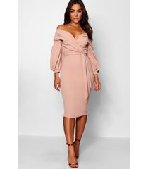 off the shoulder wrap midi dress, stone