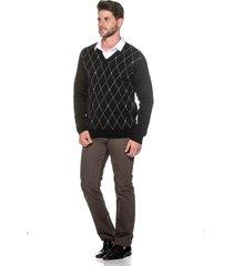 suéter passion tricot jacar losango preto - kanui