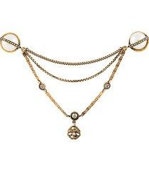 alexander mcqueen crystal brooch - gold