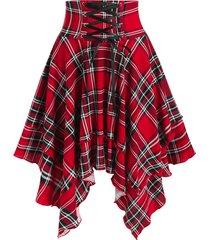 plaid print lace-up layered handkerchief skirt
