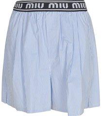 miu miu striped logo shorts