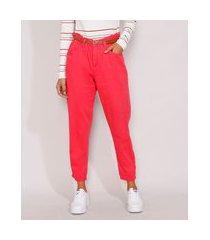 calça de sarja feminina clochard cintura alta com cinto rosa