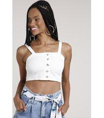 top cropped de sarja feminino com botões alça média decote reto off white