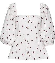 printed cotton poplin blouse lange mouwen ganni