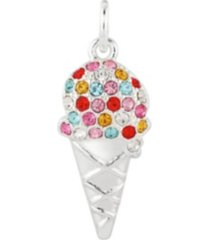 fine silver plated crystal ice cream cone charm