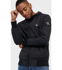calvin klein jeans hooded blocking nylon jacket jackor black/white