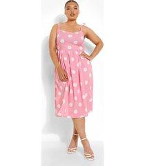 plus midi skater jurk met stippen, light pink