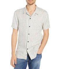 men's frame slim fit stripe linen camp shirt